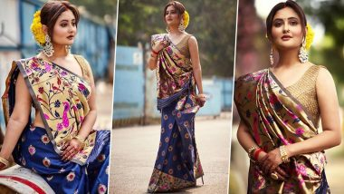Navratri 2020 Day 5 Colour Blue: Rashami Desai Looks Breathtakingly Gorgeous As She Turns Into 'UP Ki Beauty' (View Pics)
