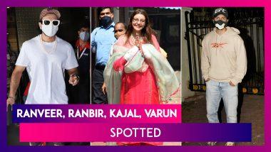 Ranveer Singh Wears Pearl Necklace; Ranbir Kapoor, Varun Dhawan At Arjun Kapoor's House, Kajal Aggarwal Spotted With Mother; Mouni Roy Clicked At Dharma Office
