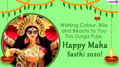 Subho Sasthi HD Images & Durga Puja 2020 Wallpapers for Free Download Online: Wish Happy Maha Shashti With WhatsApp Stickers and GIF Greetings