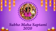 Subho Maha Saptami 2020 Wishes in Bengali: WhatsApp Stickers, Facebook Messages, Maa Durga HD Images and GIFs to Share Happy Durga Puja Greetings