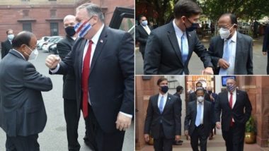 Mike Pompeo & Mark Esper Greet NSA Ajit Doval by Giving Elbow Bump, View Pics