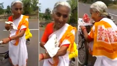 68-Year-Old Lady From Maharashtra is Cycling 2,200 Kms All Alone to Reach Vaishno Devi, Viral Video of Her Courage Proves Age is Just a Number!