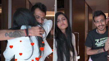 Yuzvendra Chahal's Reaction to Fiancee Dhanashree Verma's Surprise Visit Is Nothing but All Love (Watch Video)