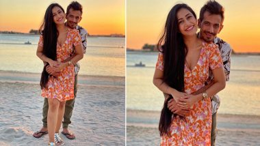 Yuzvendra Chahal and Fiancee Dhanashree Verma's Romantic Pose on Beach Sparks Meme-Fest Online, Check Out Funny Memes Made on 'Lovely' Couple Picture!