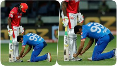 Ravichandran Ashwin Posts a Picture of Himself Tying Chris Gayle's Shoelaces During KXIP vs DC, IPL 2020, Caption of the Snap Will Make you ROFL!