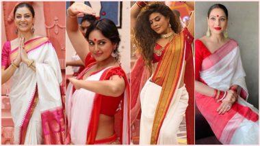 Sindoor Khela 2020 Celebrity-Inspired Look: Bipasha, Jacqueline, Sushmita and Sonakshi, Ace Your Lal Paad Shada Saree for Bijoya Dashami Just Like These Beauties