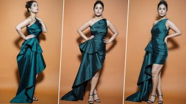 Bigg Boss 14: Hina Khan's Peacock Green Dress Proves How Solid Colours Can Look Alluring if Worn Right (View Pics)