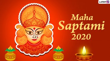 Maha Saptami 2020 Wishes & Durga Puja HD Images: Subho Saptami Beautiful WhatsApp Stickers, GIF Greetings, Facebook Messages, SMS and GIFs
