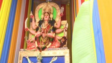 Durga Puja 2020: Idol of Goddess Durga Slaying COVID-19 Set Up in Hyderabad for Pujo