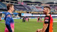 David Warner Catches Up With Steve Smith After RR vs SRH, IPL 2020, Rajasthan Royals Share Snaps on Social Media
