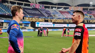 David Warner Catches Up With Steve Smith After RR vs SRH, IPL 2020, Rajasthan Royals Share Snaps on Social Media
