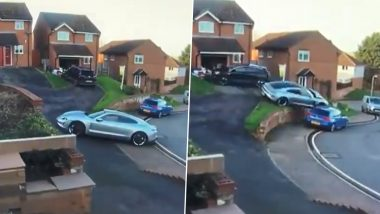 Expensive Parking Fail! Porsche Taycan Hits SUV and Lands on Another Car in Epic Fail to Park the Vehicle Amid Steep Driveway in UK (Watch Video)