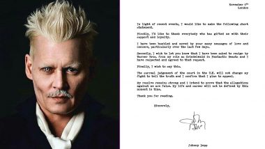 Johnny Depp Asked By Warner Bros To Resign From Fantastic Beasts 3 After He Loses Libel Case In London, Actor Releases Statement (View Post)