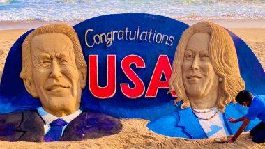 Sudarsan Pattnaik Congratulates US President-Elect, Joe Biden & Vice President-Elect, Kamala Harris with a Massive 25-Feet Long Sand Art