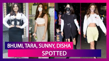 Bhumi Pednekar Spotted Promoting Durgamati; Tara Sutaria, Sunny Leone, Malaika Arora & Disha Patani Seen In The City