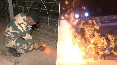 Diwali 2020: BSF Jawans Light Diyas, Burst Firecrackers in Jammu and Kashmir on Deepavali (Watch Video)