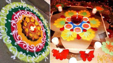 Tulsi Vivah 2020 Rangoli Design Images: Simple Floral, Chowk, Dotted & Peacock Style Rangoli Patterns to Make on Prabodhini Ekadashi (Watch Videos)