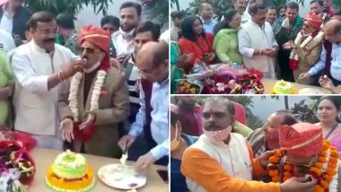 Uttar Pradesh: COVID-19 Norms Flouted in Moradabad Mayor Vinod Agarwal's Birthday Celebration; People Seen Standing Close to Each Other Without Wearing Masks