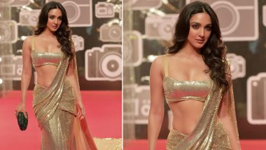 Kiara Advani Shimmers and Shines in This Golden Manish Malhotra Saree (View Pic)