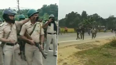 Tripura: Protesters Block National Highway in Dolubari, Sets Vehicles on Fire Against Rehabilitation of Bru Refugees from Mizoram (Watch Video)