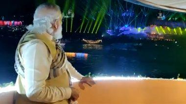 Dev Deepawali 2020 in Varanasi: PM Narendra Modi Enjoys Laser Show in Kashi; See Pics and Videos