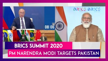 BRICS Summit 2020: PM Narendra Modi Targets Pakistan, Says 'Countries Supporting Terrorism Must Be Held Accountable' Chinese President Xi Jinping Shares Platform