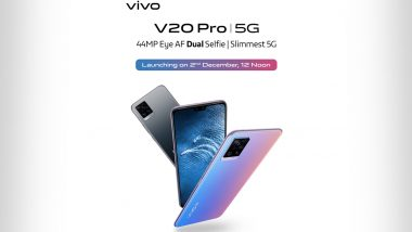 Vivo V20 Pro 5G India Launch Confirmed for December 2, 2020; Check Expected Prices, Features & Specifications Here
