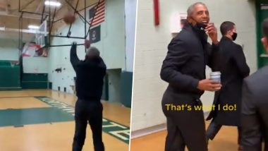 Barack Obama Casually Buries 3-Pointer at Basketball Court During Campaign With Joe Biden in Michigan, NBA Star LeBron James in All Praises (Watch Viral Video)