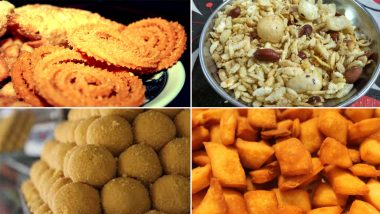 Diwali 2020 Easy Snack Recipes: From Chakli, Chiwda to Ladoos, Know How to Make Traditional Diwali Faral at Home (Watch Videos)