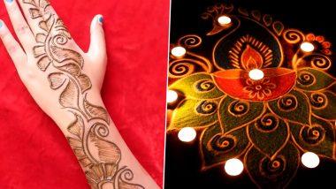 Easy Diwali 2020 Rangoli Designs And Mehendi Patterns: Easy Deepavali Lamp Rangoli Images And Henna Images to Prepare For the Festive Season (Watch Videos)