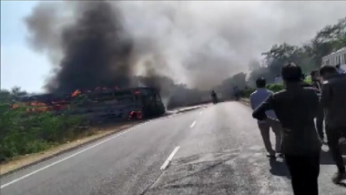 Rajasthan Accident: Bus Catches Fire After Coming in Contact With High Voltage Wire on Delhi-Jaipur Highway, 6 Killed