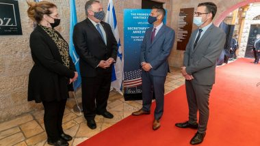 US Secretary of State Mike Pompeo Visits Museum in Israel's Jerusalem Honoring Christian Zionists