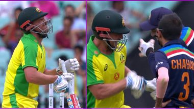 Aaron Finch, KL Rahul Have Fun After Navdeep Saini's Full Toss Hits Australian Captain on Stomach (Watch Video)