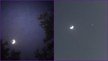 Saturn, Jupiter and Moon Form a Celestial Triangle in Night Sky Ahead of The Conjuction, View Beautiful Pics