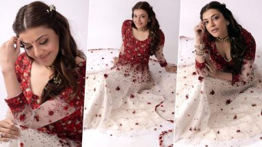 Kajal Aggarwal's Pre-Wedding Look from Satsang Goes Viral on the Internet, Actress Looks Mesmerising in her Red and White Outfit (View Pics)