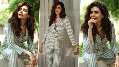 Karishma Tanna Is Cranking Up That Bawse Girl Mode With Some Striped Pantsuit Sass!