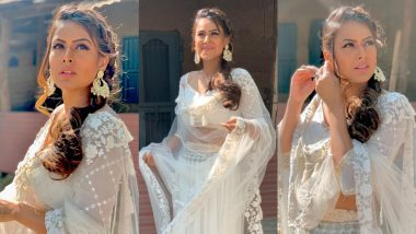 Diwali 2020: Nia Sharma's White Lehenga Embroidered With Petals and Motifs Will Inspire Your Floral Desire This Festive Season (View Pics)
