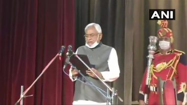 Nitish Kumar Takes Oath as Bihar Chief Minister For 7th Term; Tarkishore Prasad, Renu Devi Sworn In as Deputy CM