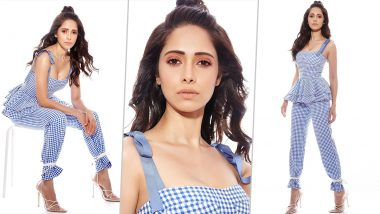 Nushrratt Bharucha Rings in Some Checkered Chicness With White Heels and a Top Knot!