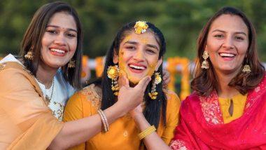 Bajrang Punia-Sangeeta Phogat Wedding: Sangeeta Celebrates Haldi Ceremony With Sisters Geeta & Babita (View Pictures)