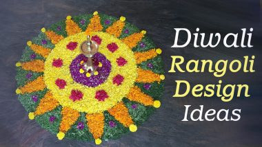 Simple Rangoli Designs For Diwali 2020 with Marigold Flowers at Home: Make Easy Pookalam Designs & Floral Deepavali Rangoli Patterns With Orange and Yellow Genda Flowers