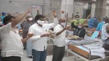COVID-19 Patients and Doctors at Sir Sayajirao Hospital in Gujarat's Vadodara Celebrate Diwali, Hospital Staff Seen Lighting Diyas in PPE Kits (Watch Video)
