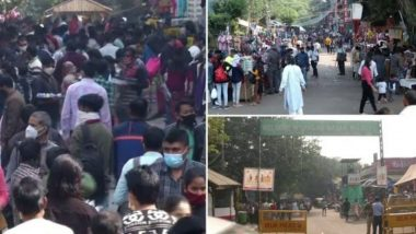 Delhi Shoppers Throng Sarojini Nagar Market Despite Spike in COVID-19 Cases in National Capital, View Pics