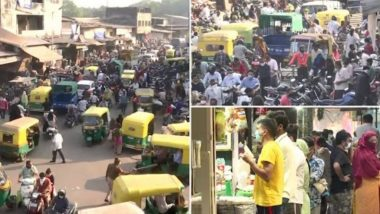 Huge Crowd Seen in Ahmedabad Markets Ahead of 60-Hour Curfew Announced to Curb COVID-19 Spread, View Pics