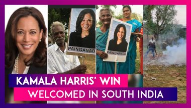 Kamala Harris' Ancestral Village In South India Celebrates Her Win As US Vice President-Elect With Firecrackers, Rangoli, Posters & Sweets