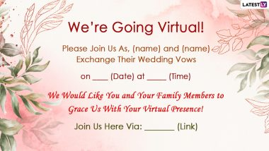 Virtual Wedding Invitation Card Format With Messages: Free Photos and Text Format to Invite Guests For Your Marriage Ceremonies in 2020-2021