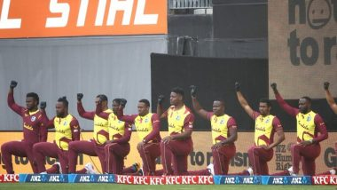 West Indies Players Take a Knee in Support of 'Black Lives Matter' Movement at Eden Park During Match Against New Zealand