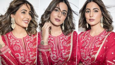 Hina Khan Looks Ravishing in Red as She Flaunts Her Charming Traditional Suit (View Pics)
