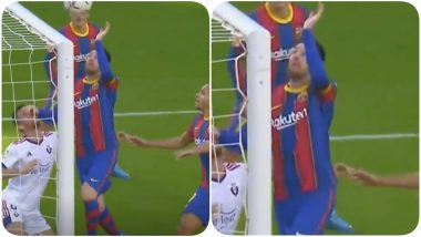 Lionel Messi Almost Pulls Off Diego Maradona's 'Hand of God' Goal During Barcelona vs Osasuna, La Liga 2020-21 (Watch Video)