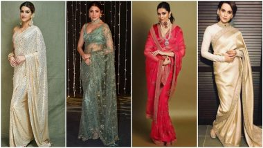Karwa Chauth 2020: From Deepika Padukone's Traditional Red to Anushka Sharma's Sheer Green, Different Saree Looks that You Can Wear on this Special Day (View Pics)